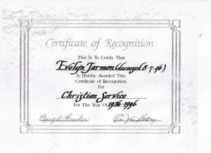 Little Rock Baptist Church: Certificate of Recognition - Evelyn Jarmon