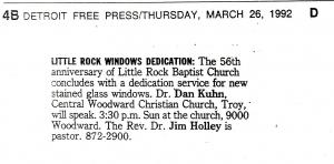 Little Rock Windows Dedication