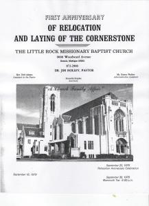 Little Rock Baptist Church: First Anniversary of Relocation and Laying of the Cornerstone